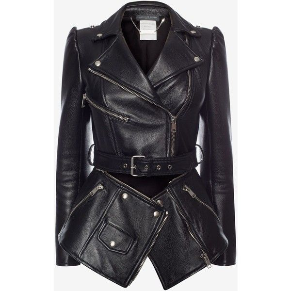 Alexander McQueen Zipped Biker Jacket (248.470 RUB) ❤ liked on Polyvore featuring outerwear, jackets, coats, black, tops, zipper leather jacket, leather motorcycle jacket, biker jacket, genuine leather jackets and leather jackets