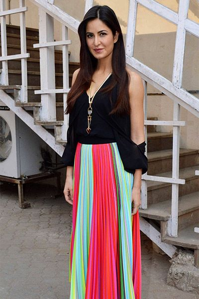 Katrina Kaif in black cold-shoulder top and multi-coloured skirt