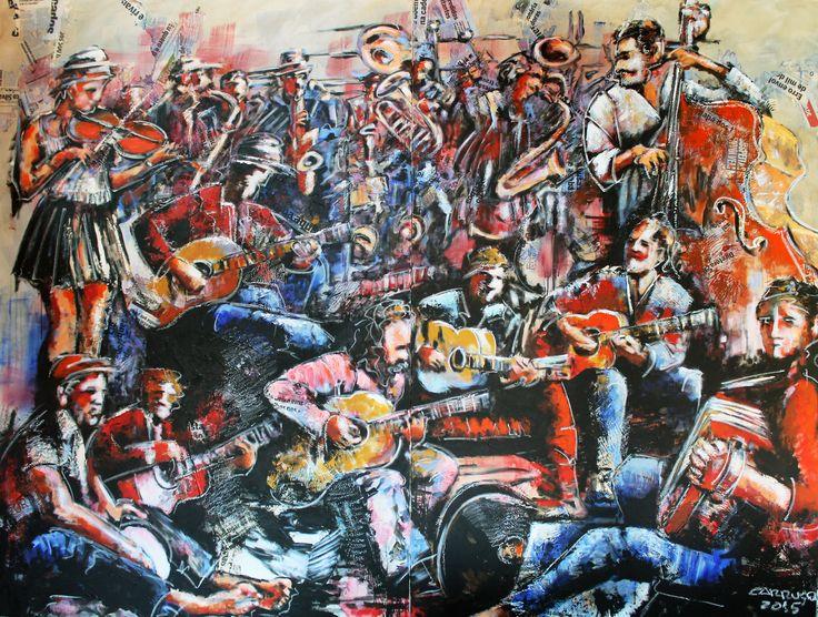 """Musicos de rua"" / ""Street musicians"" Técnica mista sobre tela / Mixed media on canvas 2 x (195 x 130 cm) díptico / diptych 2015"