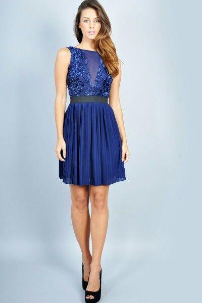 Vestidos cortos de noche color azul rey