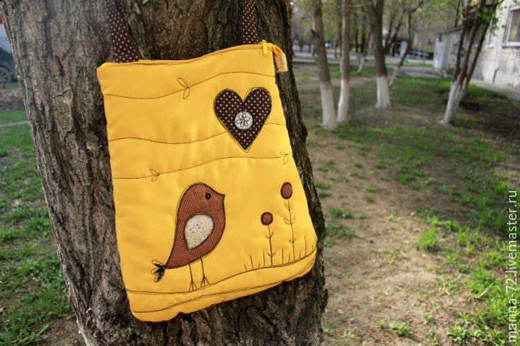 Купить Желтая сумка с птичкой. - желтый, сумка женская, сумка, сумка летняя, сумка текстильная