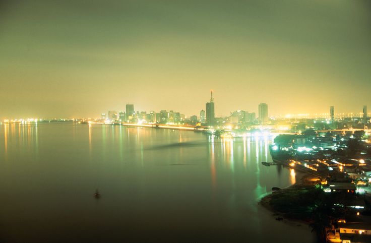 Ships in harbour at night in NNPC oil refinery in Lagos - #OilBook #Nigeria #Africa #oil #oilandgas