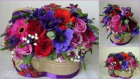 Box with flowers purple anemona