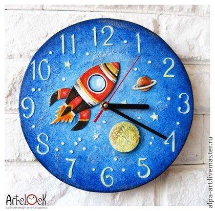 "Часы для дома ручной работы. Ярмарка Мастеров - ручная работа Часы настенные ""Ракета"". Handmade."
