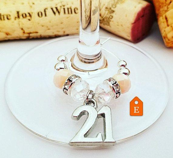 Wine Charm 21st Birthday Wine Glass Charm 21st Birthday Wine
