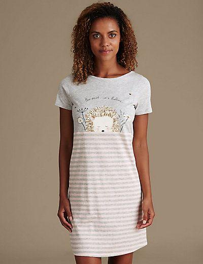 Cotton Rich Hedgehog Striped Minishirt   M&S