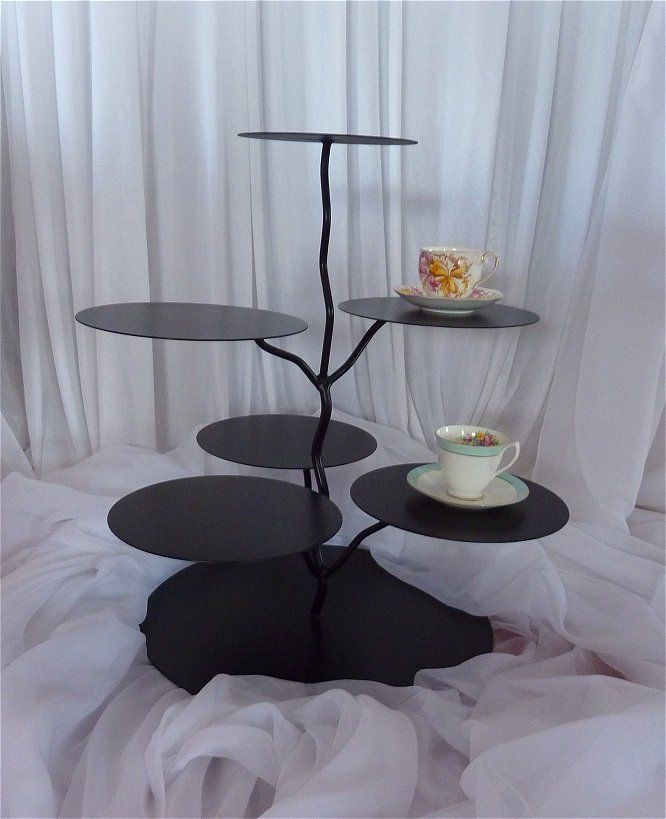Twig Cake Stand Black - a rustic look that has 6 different tiered sections for all your treats to be displayed on!