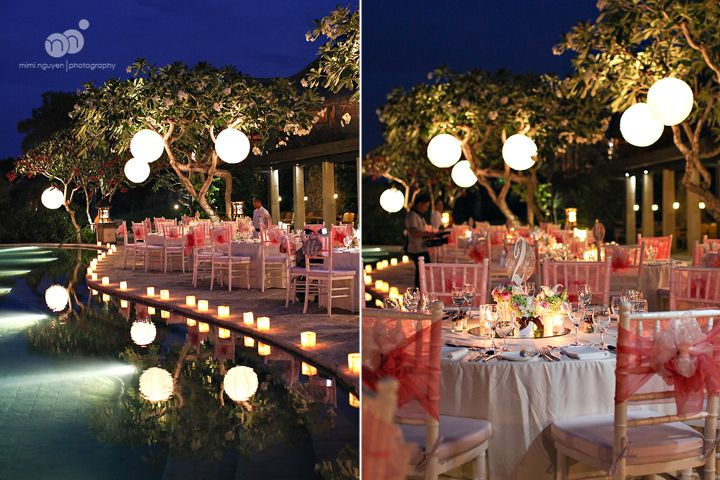 michelle   danh | destination wedding | four seasons jimbaran bay | bali indonesia | outdoor reception with lanterns overlooking infinity pool