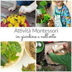 Attività Montessori da fare all'aperto in giardino o nell'orto con fiori, semi, foglie. Attività Montessori all'aperto, esercizi per il movimento fine.