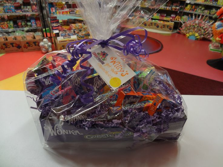 """""""Willy's Got The Munchies"""" A beautifully whimsical basket overflowing with all the wonderful Wonka things any candy-lover could ever need: Wonka would be so proud!"""