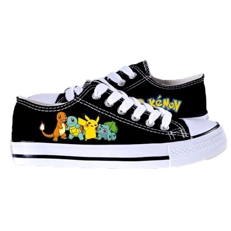 Pokemon Canvas Shoes Pikachu Bulbasaur Charmander Squirtle 2016 New Fashion Unisex Low Casual Shoes for Men and Women Christmas