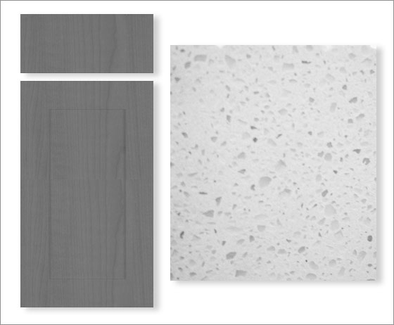 This is essentially the plan for our kitchen....Gray Cabinets and White/Gray Quartz Countertops