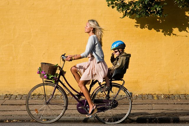 REMEMBERING WHEN I USE TO RIDE MY SON TO SCHOOL. Copenhagen Bicycle Against Yellow Wall 11 by Mikael Colville-Andersen, via Flickr