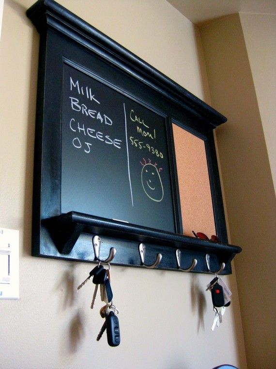 Bulletin Board Chalkboard Keyhook Organizer with Shelf,  Black, White, or Red for your Home- Heirloom Quality Furniture by Rozemake on Etsy, $168.73