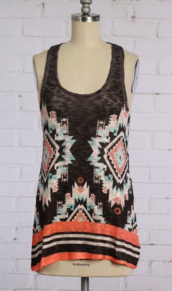 COWGIRL gYPSY AZTEC Tribal Tank Top Shirt Tunic Boho knit Western Medium NWOT #entiglamour #TANK