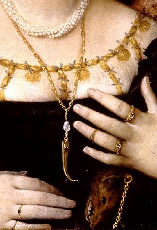 Portrait of Lucina Brembati by Lorenzo Lotto (1480-1556), detail