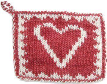 Free Knitting Patterns - Heart Double Knit Hot Pad   KnittingHelp.com