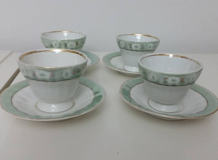 """""""Here i have up for sale are a vintage porcelain tea set from germany ,the maker's KPM..there are 10 cups and 11 saucers ..no chips ..some of the colour…"""""""