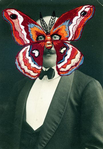 Moth Man, embroidered vintage photo by Julie Chase