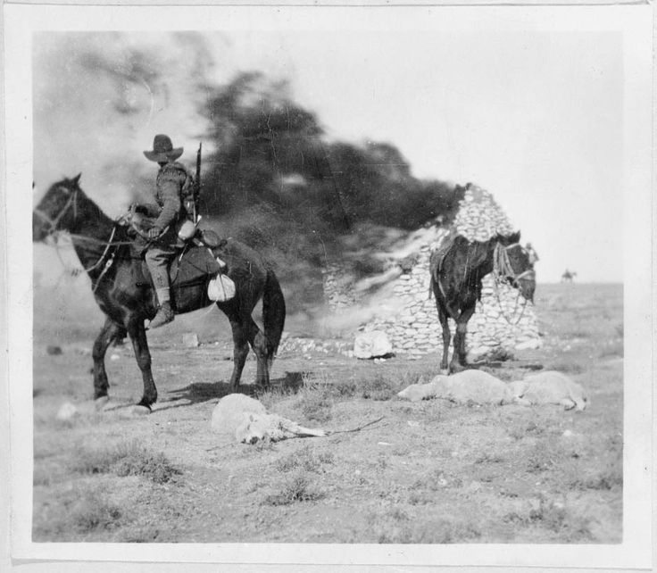 Members of New Zealand's Sixth Contingent burn a Boer farm, 1901. This photograph was possibly taken by Private William Raynes. During the second phase of the war Boer farms were often cleared of their inhabitants: houses and possessions were burned and the livestock either taken by the British  or destroyed. As a result of this method, more than 30,000 farms were burnt and up to 3.6 million sheep were destroyed.