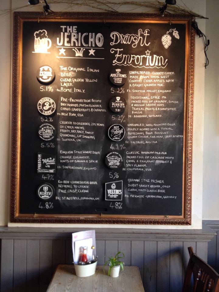 Beer board at the Jericho tavern Oxford designed by Riddo