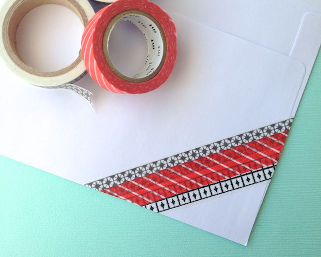 how to use washi tape on envelopes