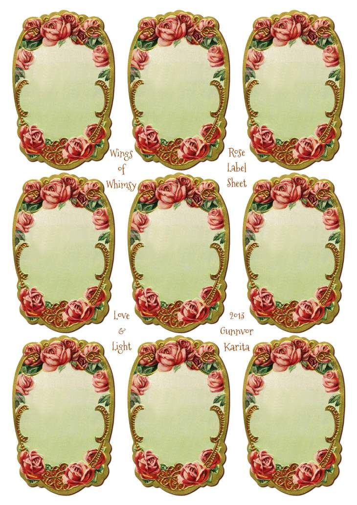 Wings of Whimsy: Rose Label Sheet - free for personal use
