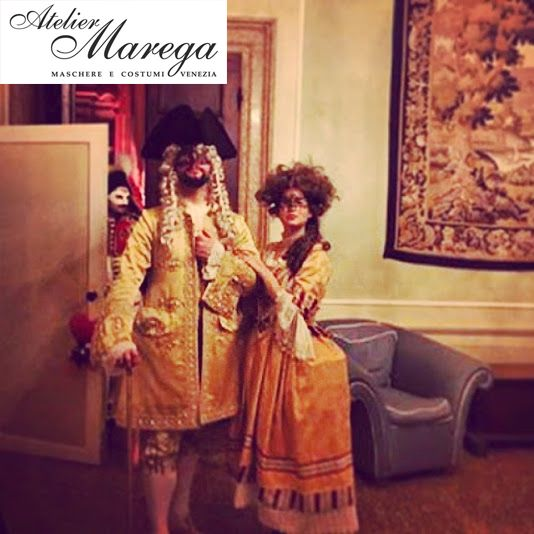 A beautiful young couple wears our costumes during Casanova Grand Ball 2015 in Venice. www.marega.it