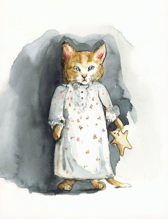 Muffin's Dream- Cat Art, Archival print of watercolor
