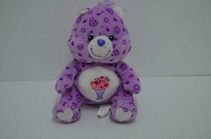 "Share Care Bear Plush Purple Bean Bag Hearts Ice Cream Float Belly 6"" #AllOccasion"