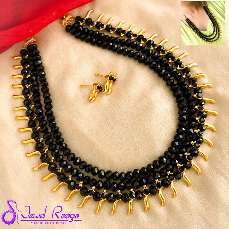 Traditional kerala mullamottu Mala with three layer black crystals #Keralatraditionalmullamottunecklace #makeover #multilayercrystalnecklace #Handmade #JewelRaaga #jewelrydesign #fashion #style