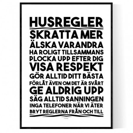 Husregler Poster. Köp inredning online hos Wallstars! Snabba leveranser.