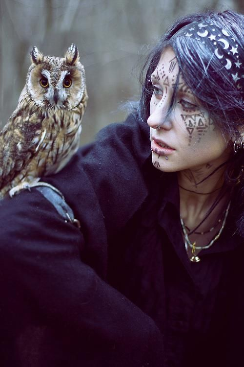 Witch with her beloved owl. To the Witch,all life is sacred,she places none above her nor any below her. All are equal and deserving of love,peace,comfort,respect,honor and protection. Her bond with the natural world,the universe and all around her is deep and abiding and she feels a pulse of interconnectedness with everything. She walks gently on her path.She upholds the Sacred Trust,always. Blessed Are The Witches. )O(