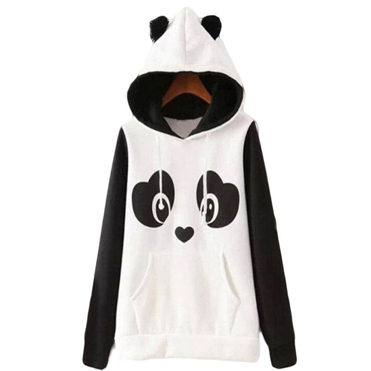 Dmart7deal Lovely Women Panda Hoodies Black and White Winter Autumn Cosplay Pullovers Sweatshirts Size S-2XL Plus Size 1081