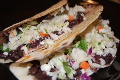Crisp Black Bean Tacos with Feta and Lime Slaw - Eat at Home