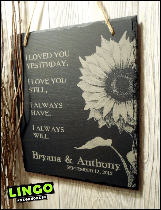 Sunflower wedding sign Gift for couples wedding by LingoSignWorks