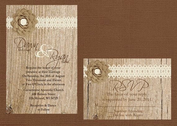 Marvelous Rustic Lace Wedding Invitation, Lace And Wood Wedding Invitation, Custom