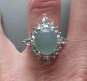 Zilveren ring gezet met aqua Chalcedoon en blauw Topaas 17 mm