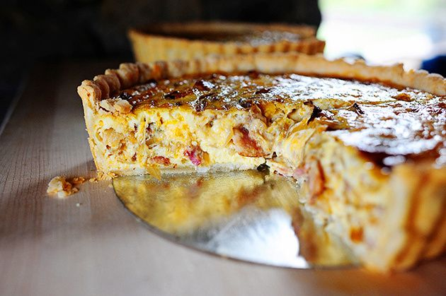 Cowboy Quiche -- 4 stars. I add ham, diced red pepper that's been lightly cooked, and green onions. This makes it way more colorful, appetizing, and delicious.
