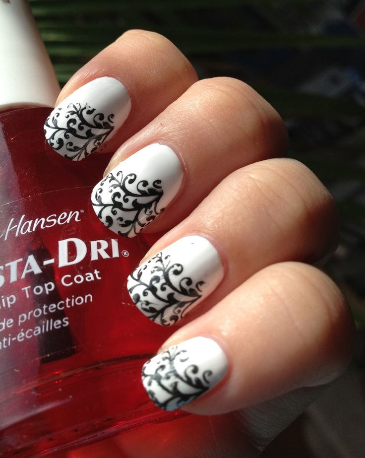 Bold Black and White Nail Art using Bundle Monster Plate.