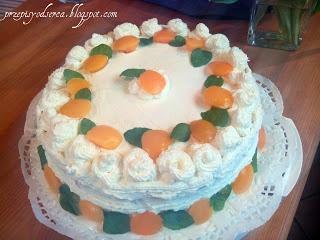 Peach birthday cake / Tort brzoskwiniowy