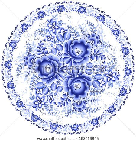 Ornate blue plate in gzhel style (traditional style of Russian ceramics, painted with blue on white). - stock vector