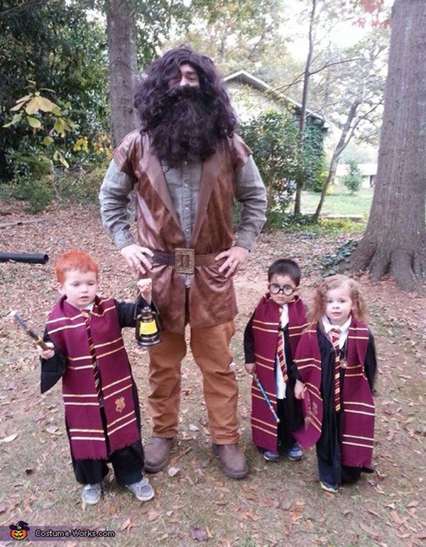ron hagrid harry and hermione 53 family halloween costumes that are pure coordinated joy - The First Halloween Costumes