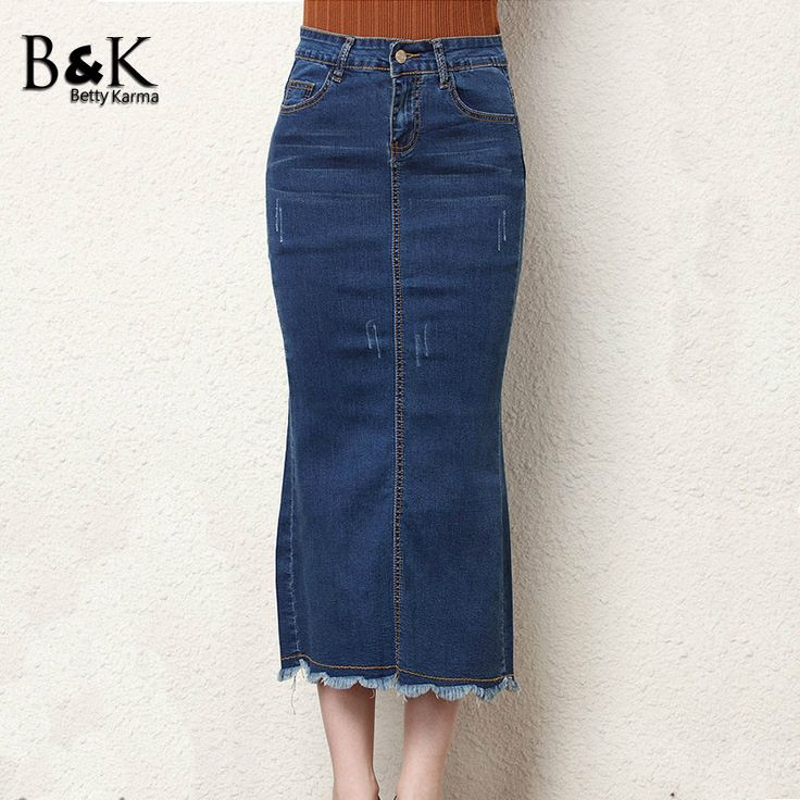 ==> [Free Shipping] Buy Best Hot Summer Women Vintage Casual Skirt Girls Love Long Mid-Calf Jeans Pencil Straight Skirts Ladies Stretch Femininas Denim Skirt Online with LOWEST Price   32804423561