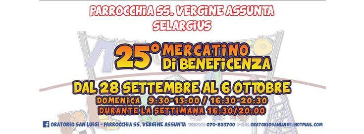 25° MERCATINO DI BENEFICIENZA – ORATORIO S.LUIGI -SELARGIUS – 28 SETTEMBRE- 6 OTTOBRE 2014