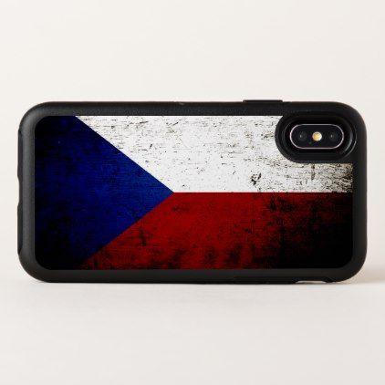 Black Grunge Czech Republic Flag OtterBox Symmetry iPhone X Case - diy cyo customize personalize design