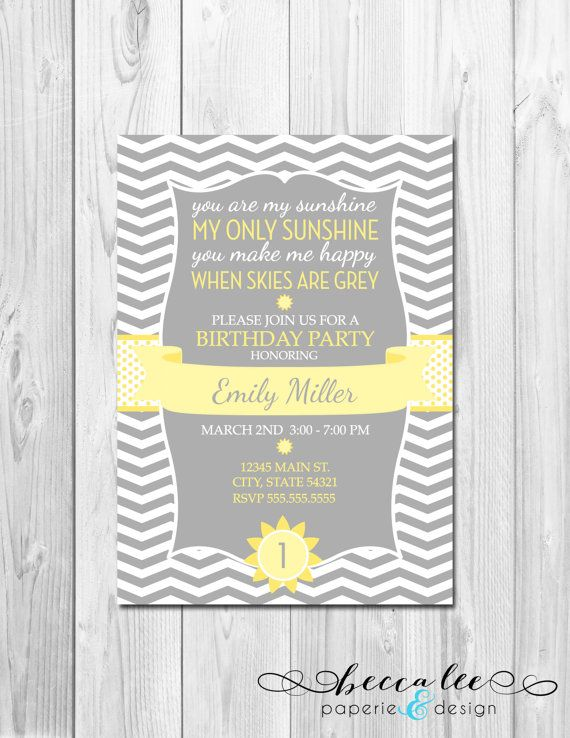 You Are My Sunshine Birthday Party Invitation - Chevron Stripes - DIY - Printable on Etsy, $14.00