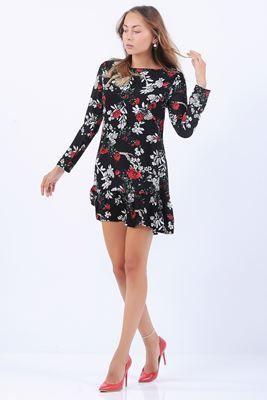 Detayları Göster Kırmızı Beyaz Çiçek Desenli Siyah Elbise