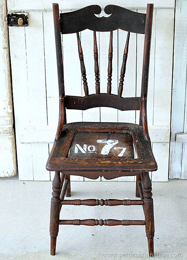 Numbered Furniture {Stencil Project. Wooden ChairsAntique ... - 262 Best Old Wooden Chairs Images On Pinterest Log Stools