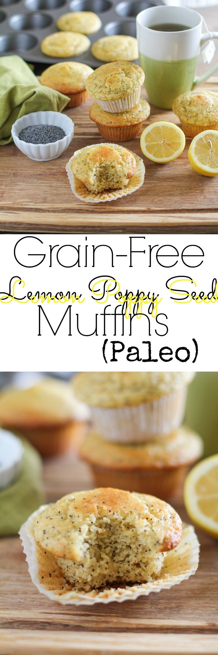 Grain-Free Lemon Poppy Seed Muffins - refined sugar free, gluten-free, and paleo-friendly | TheRoastedRoot.net #healthy #breakfast #recipe